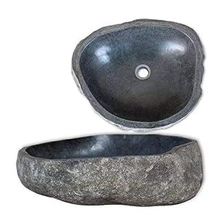 Famirosa VidaXL Lavabo Ovalado Forma de Cuenca Hecho de Piedras del río 46-52 cm de Color Taupe