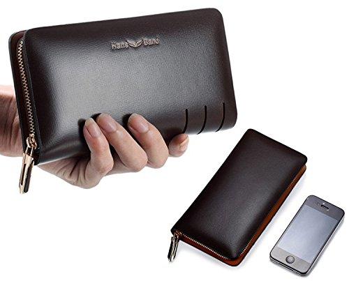H&W Clutch Leder Unterarmtasche Handgelenktasche Geldbörse Portemonnaie für Herren Braun #6