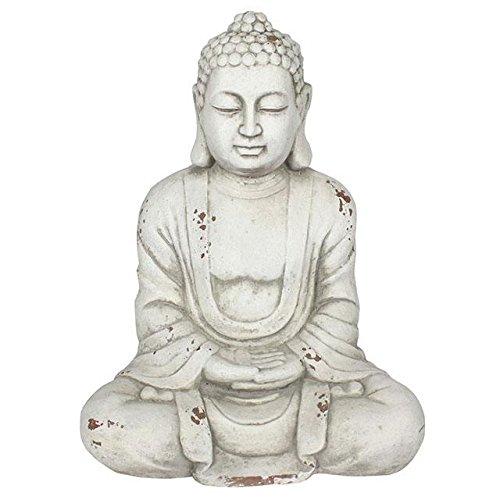 Spirit of Equinox 58cm große meditierend Hände in Lap thailändischer Stil Buddha Statue für Garten oder Innen-weiß