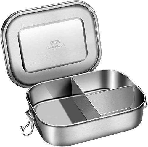 G.a HOMEFAVOR 1400ml Lunchbox Brotdose aus 18/8 Edelstahl Bento Box mit 3 Fächern, 21 * 16 * 6 cm