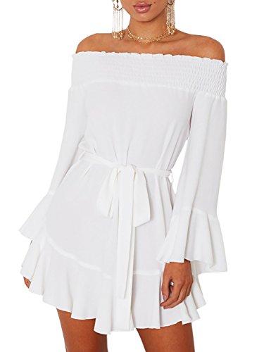 Boutiquefeel Damen Schulterfrei Blumen Drop Hem Tied Casual Kleid Weiß M (Weiß Plus Size Strand-kleid)