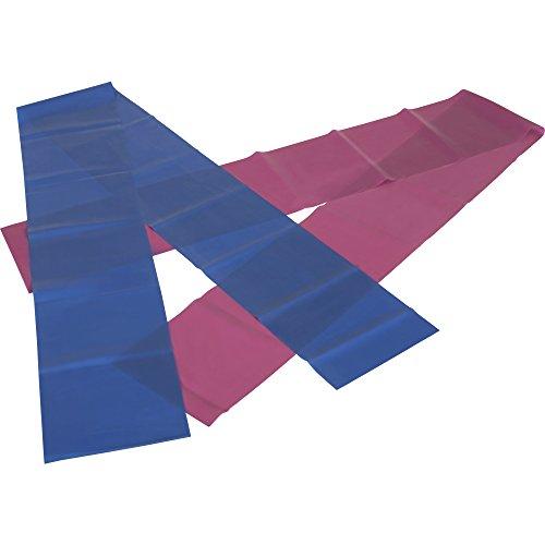 GORILLA SPORTS® Fitnessband 2er-Set 150 cm Latex - Gymnastik-Bänder in 2 Verschiedenen Stärken Blau/Rot