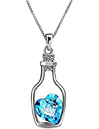Oviya Blue Rhodium Plated Solitaire Crystal Brass Heart Bottle Pendant for Women