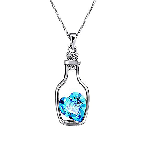 Oviya Rhodium Plated Solitaire Crystal Valantine Heart Bottle Pendant for Women PS1101606Blu