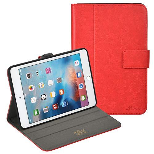 rooCASE Schutzhülle für Apple iPad Mini 4 (2015), Leder, mit Standfunktion, automatischer Schlaf- / Wachmodus, Rot