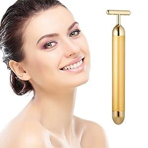 sensitive massage: Beauty Bar 24k Golden Pulse Facial Massager, T-Shape Electric Sign Face Massage ...