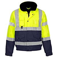 HI VIZ VIS Visibility Safety Bomber Jacket Coat Contractor Highway Waterproof Reflective Tape Band Worker Size S-3XL