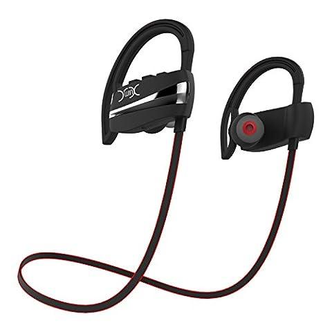 YXwin Ecouteurs Bluetooth 4.1 Casque de Sport Oreillette Sans Fil Stéréo Intra-Auriculaires Tour de Cou Mains libres avec Microphone pour Appareils Bluetooth (Noir)