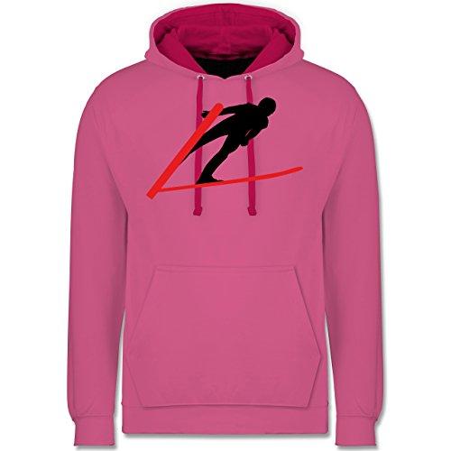 Wintersport - Skispringer Skispringen - Kontrast Hoodie Rosa/Fuchsia