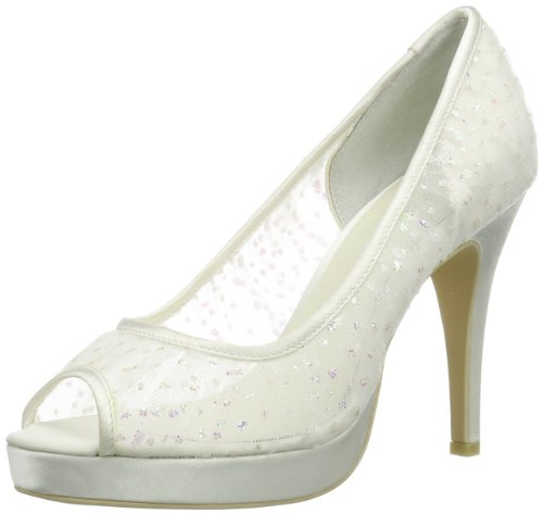 Menbur Wedding Sintra, Damen Peep-Toe Pumps, Elfenbein (Ivory 04), 38 EU (5 Damen UK)