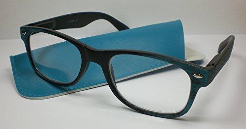 Moderne Lesebrille für Herren3 Farben Lesehilfe Holzoptik Flexbügel Etui M3 blau-schwarz +1,0