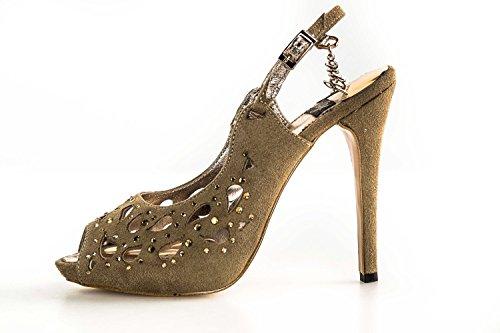 Scarpe donna gioiello WHY A. VENTURINI sandalo taupe open toe + strass N39 X2765