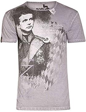 MarJo Herren Herren T-Shirt mit Ludwig II Grau, Grau,