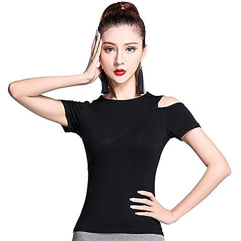 YI WELT Frau tanzen Kleidung Lateinischer Tanz Hemd Kurze Ärmel Moderner Tanz Baumwollkleid schwarz , blank , l