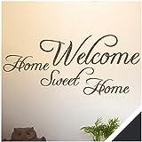 Exklusivpro Wandtattoo Spruch Wand-Worte Welcome Home Sweet Home inkl. SWAROVSKI-Strass (wrt03 schwarz) 100 x 45 cm mit Farb- u. Größenauswahl
