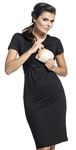 Zeta Ville Maternité Nuisette grossesse Chemise de nuit allaitement femme - 274c Noir