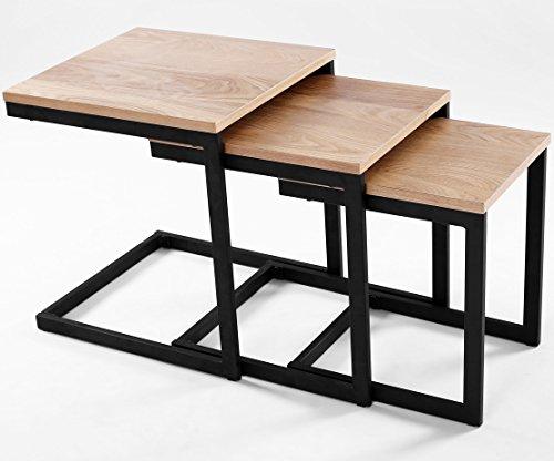 ComptoirXL Table d'appoint gigogne Design Industriel Newark (Lot de 3 Tables) chêne et Noir