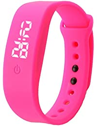 Vovotrade deporte hombres impermeables mujeres corriendo de goma de silicona blanco LED fecha pulsera Digital reloj (Rosa caliente)