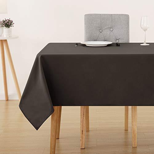 Deconovo Tischdecke Wasserabweisend Tischwäsche Lotuseffekt Tischtuch 130x280 cm Dunkelschoko