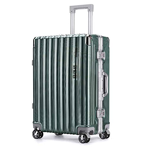 THWJSH Trolley-Koffer Aluminium-Rahmen PC Hard Shell Koffer Mode Reise Trolley mit 4 Rädern (Silber)-green-20inches Green Shell Mode