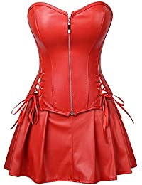 a9e122ef23bae HITSAN Red Black PU Leather Corset Bustier Dress Set Overbust Lingerie Women  Lace Up Corselet Tops Skirt Plus…