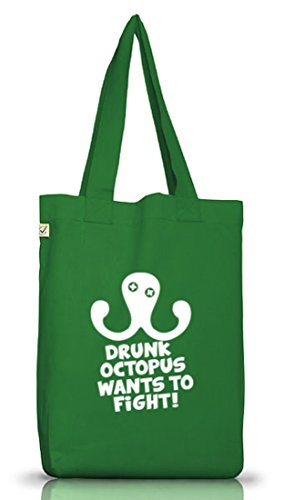 Shirtstreet24, DRUNK OCTOPUS, Jutebeutel Stoff Tasche Earth Positive (ONE SIZE) Moss Green