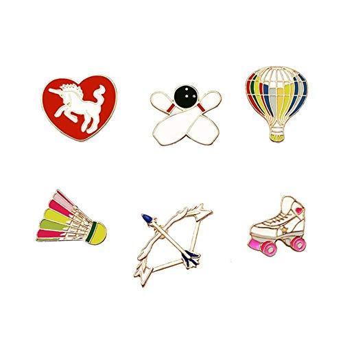 Miss charm Rollschuhe Alle Menschen Sport Style Hot Air Balloon Kreative Abzeichen Badminton Bogen Pfeil Tropfen Öl Brust Legierung Nadel Kragen Nadel Liebe