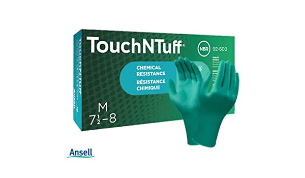 in Nitrile for Chemical Green Size 6.5-7 Ansell TouchNTuff 92-600 Disposable Gloves Mechanics use Powder-free Box of 100 gloves Food-handling