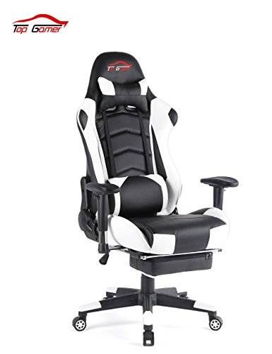 Top Gamer Gaming Stuhl PC Racing Gaming Sessel Bürostuhl Schreibtischstuhl mit Gepolsterte Fußstütze(Schwarz und Weiß)
