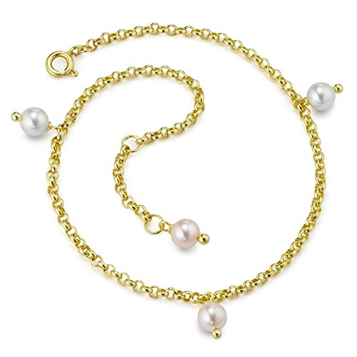 Rhomberg Anker rund-Fusskettchen Bronze Perlen, Beschichtung: vergoldet, Farbe: bunt, Kettenart: Anker rund, Länge (cm): 26 cm, Materialstärke: 2.3 mm, Perlendurchmesser: 6 mm, Verschluss: Federring