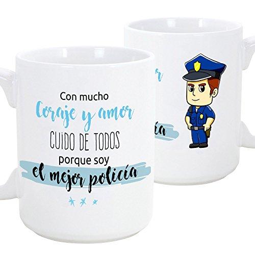 Taza de desayuno original para regalar a trabajadores profesionales - Regalo para policías - Con mucho coraje y amor cuido de todos porque soy el mejor policía (hombre) - Cerámica 350 ml (1 unidad)