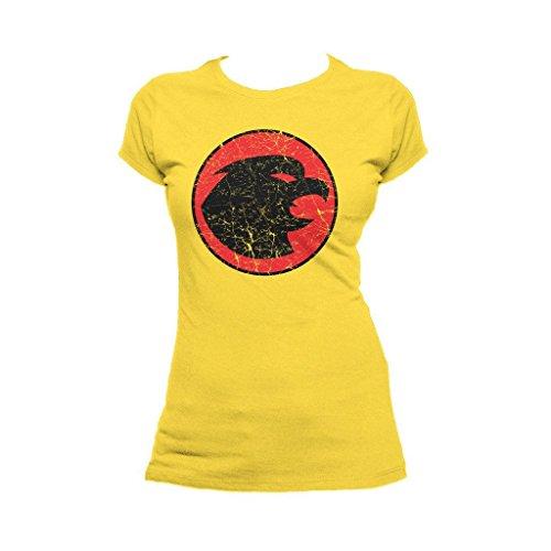 DC Comics Hawkgirl Distressed Logo Official Women's T-Shirt (Yellow) (X-Large)