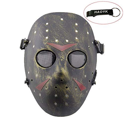 haoYK Gesichtsmaske, Hockeymaske im Stile von Jason Vorheese, Schutzmaske als Kostüm für Halloween und Partys, bronze