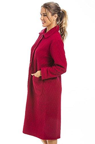 Camille - Robe de chambre pour femme - fermeture à l'avant - polaire - motif jacquard/floral - rouge Rouge