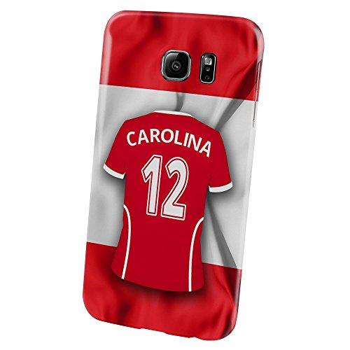 PhotoFancy Samsung Galaxy S6 Handyhülle Premium – Personalisierte Hülle mit Namen Carolina – Case mit Design Fußball-Trikot Österreich zur WM in Russland 2018