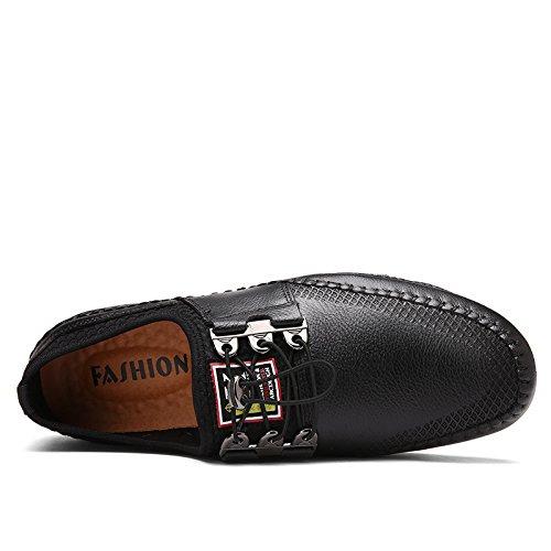 WZG La première couche de chaussures en cuir, printemps chaussures casual et respirant la dentelle en cuir automne aider souliers de conduite Black