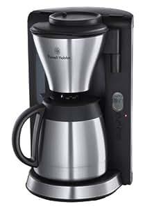 Russell Hobbs 18374 -56 Kaffeemaschine mit Thermoskanne, Fast Brew System, Bedienelement LC-Display (1200 Watt) schwarz/silber