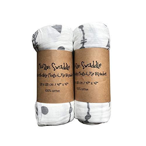 Mousseline bébé Swaddle couvertures, ChoiHope, Best Baby Shower Gift (120 x 120 cm, 2 Pack)