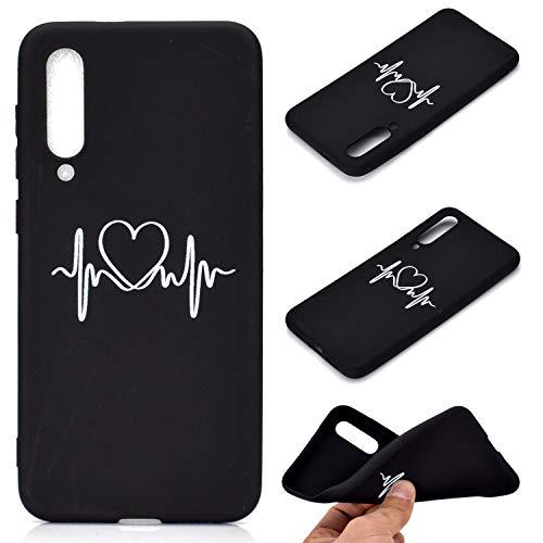 Everainy Funda Compatible para Xiaomi Mi 9 SE Silicona Carcasa TPU Suave Goma Caucho Bumper Delgado para Xiaomi Mi 9 SE Sencillo Ultrafina Negro Antigolpes Cover (Amor)