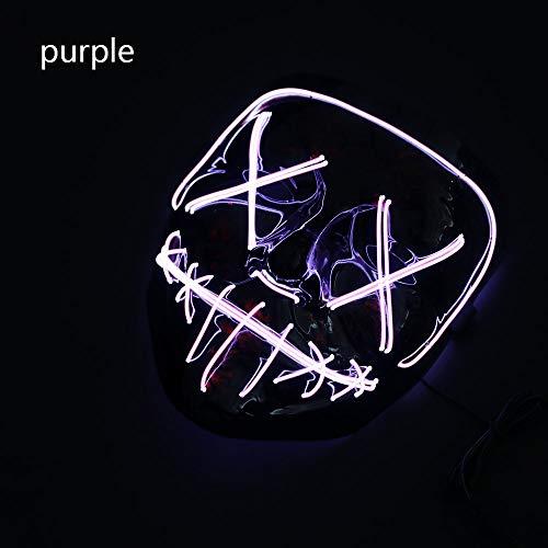 zinsp Zink Produkt enthält Keine Batterien Halloween Maske LED Licht Up Party Masken Neon Cosplay Horror Glow in Dark Masque V for Vendetta violett (The Glow In Dark Halloween-maske)