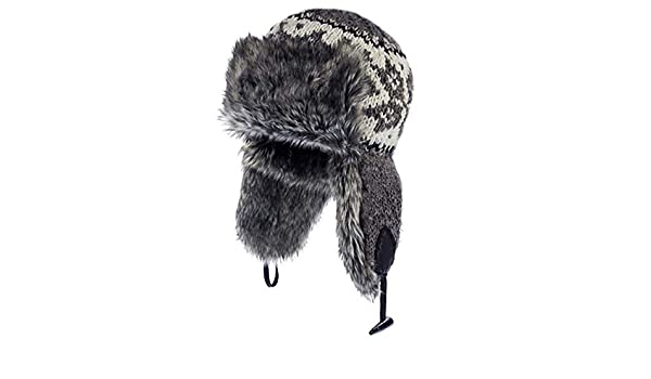 7d677e2826a Pachamama 100% Wool Hand Knitted Yukon Fur Trapper Hat - Grey   Amazon.co.uk  Clothing