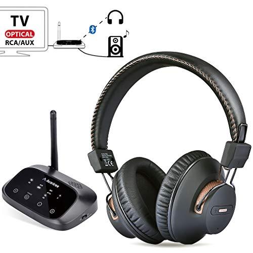 2019 Avantree HT5009 Largo Alcance Auriculares Inalámbricos para TV con Transmisor Bluetooth...