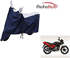 Auto Hub 100% Water Resistant Bike Body Cover for Hero Glamour - Blue/Silver
