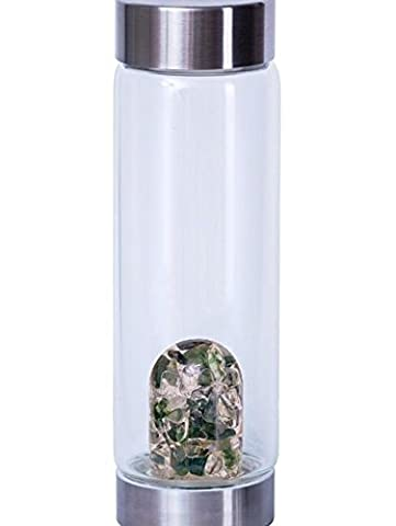 VitaJuwel Tea Time Gem Water Bottle with Gem Pod – Moss Agate Clear Quartz Gemstone Infused - Enhances and Stuctures Drinking Water