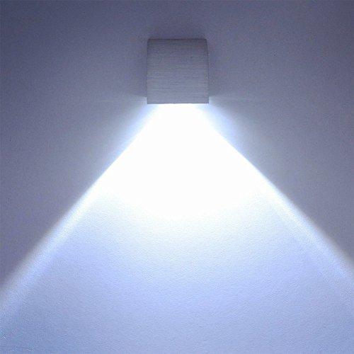 Deckey Lampada Da Parete Applique Led 3W Luce In Alluminio Illuminazione Decorativo Da Muro Corridoio Disegno Moderno (Bianco Freddo)