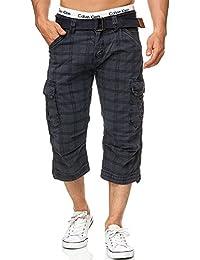 Indicode Herren Nicolas Check 3/4 Cargo Shorts kariert mit 6 Taschen inkl. Gürtel aus 100% Baumwolle | Kurze Hose Sommer Herrenshorts Short Men Pants Cargohose kurz für Männer
