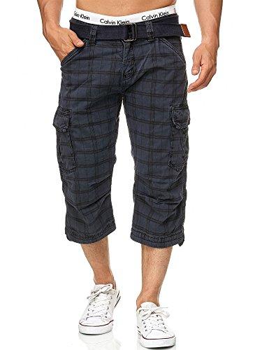 Indicode Herren Nicolas Check 3/4 Karierte Cargo Shorts inkl. Gürtel aus nachhaltiger Baumwolle Navy Check XL