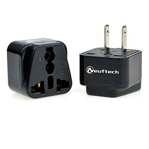 Neuftech® 2x Reisestecker Travel Plug mit 2pin US Stecker / EU Deutschland auf USA,Amerika,Kanada,Japan,China,Mexiko,Thailand usw.
