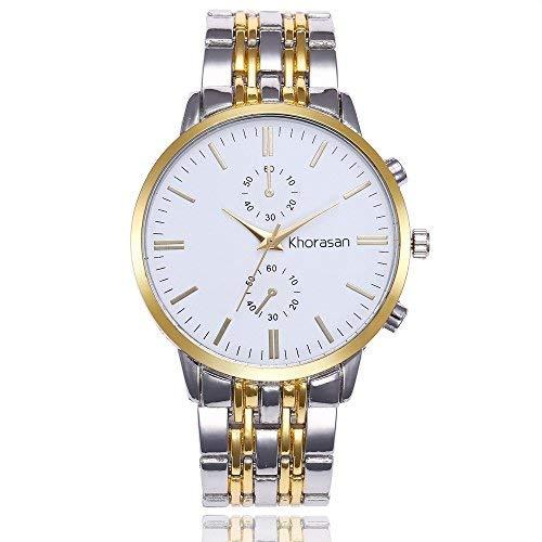 Herren Analog Quarz Uhr mit Edelstahl Armband Analog Quarz Edelstahl Weiß