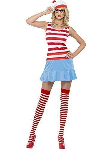 4 Stück Damen Where's Wally Wenda Waldo Sexy Buch Tag Junggesellinnenabschied Kostüm Kleid Outfit mit Strümpfe Hut Brille - (Kostüm Von Waldo Where's Waldo)